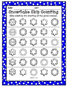 Skip Counting Snowflakes - 2.NBT.2