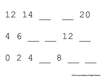 Skip Counting Strip Cards