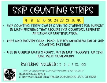 Skip Counting Strips