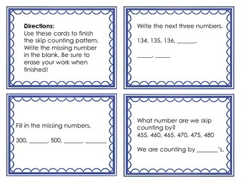 Skip Counting Task Cards 1st and 2nd Grade