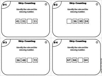Skip Counting Task Cards 1st 2nd 3rd Grade