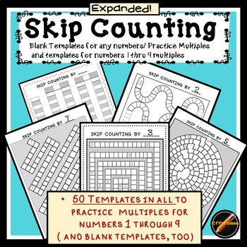 Skip Counting Templates for Any Number and Numbers 1 thru 9