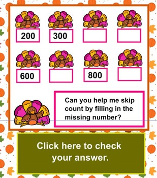 Skip Counting Thanksgiving Theme