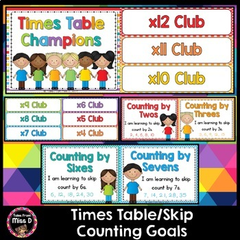 Skip Counting/Times Table Goal Posters