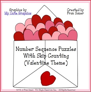 Sequencing and Skip Counting Puzzles for February/Valentine Day