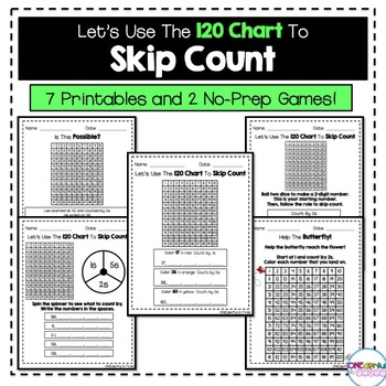 Skip Counting With The 120 Chart - Worksheets and NO-PREP Games
