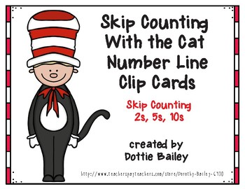 Skip Counting With the Cat Number Line Clip Cards