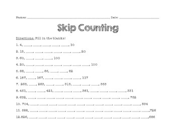 Skip Counting Worksheet