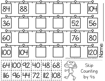 skip counting by 4s worksheets by catherine s teachers pay teachers. Black Bedroom Furniture Sets. Home Design Ideas