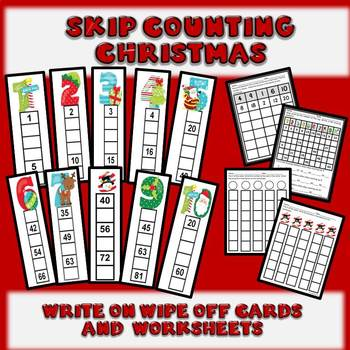Skip Counting - Write On Wipe Off Cards Christmas Theme