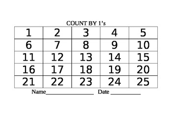 Skip Counting Writing Numbers