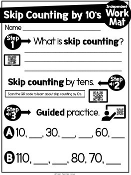 Skip Counting by 10's Independent Math Center