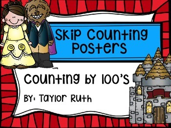 Skip Counting by 100's Classroom Poster Set: Beauty and the Beast