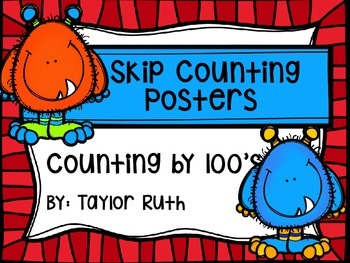 Skip Counting by 100's Classroom Poster Set: Monsters