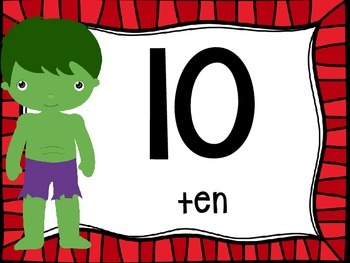 Skip Counting by 10's Classroom Poster Set: Superheroes