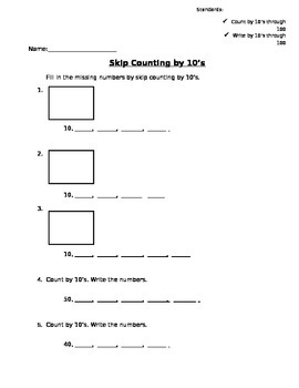 Skip Counting by 10's with tens rods