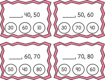Skip Counting by 10's Clothespin Task Cards
