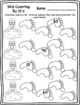 Skip Counting by 10's Printables