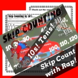 Skip Counting by 10s Worksheet for Multiplication with Ski