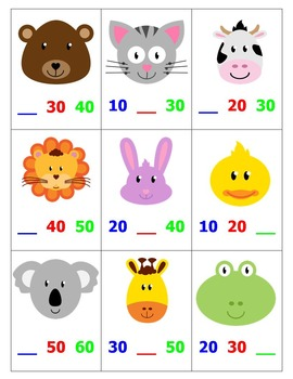 Skip Counting by 10's Top-It with Animals
