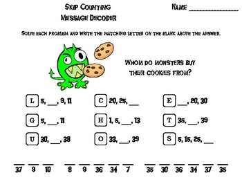 Skip Counting by 2, 3, 4, 5, 10 Game: Halloween Math Activity: Message Decoder