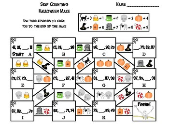 Skip Counting by 2, 3, 4, 5, 10 Game: Halloween Math Maze