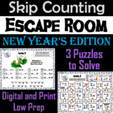 Skip Counting by 2, 3, 4, 5, 10 Game: New Year's Escape Room Math Activity