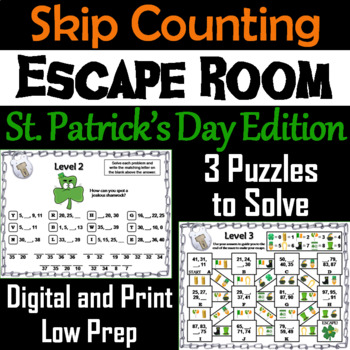 Skip Counting by 2, 3, 4, 5, 10 Game St. Patrick's Day Escape Room Math Activity