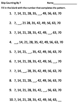 Skip Counting by 2, 3, 4, 5, 6, 7, 8, 9, 10 Worksheets Math in Color