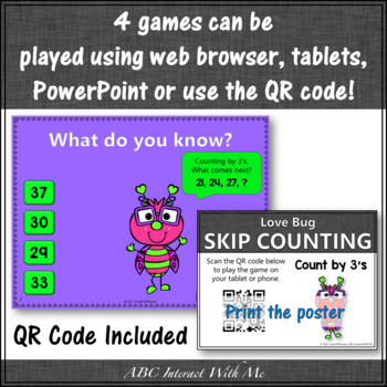 Skip Counting by 2, 3, 5, 10 Interactive Math Games Bundle {Love Bug}