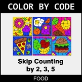 Skip Counting by 2, 3, 5 - Color by Code / Coloring Pages - Food