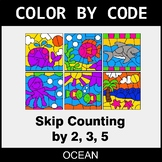 Skip Counting by 2, 3, 5 - Color by Code / Coloring Pages - Ocean