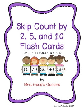 Skip Counting by 2, 5, and 10 Flash Cards