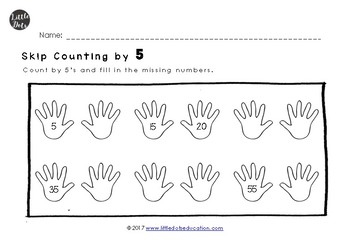 Skip Counting by 2, 5 and 10 Worksheets for Kindergarten to Grade 1
