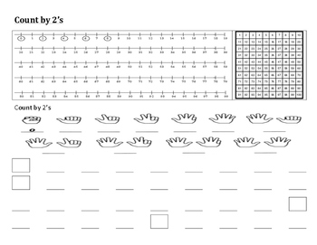 Skip Counting by 2 Placemat Freebie