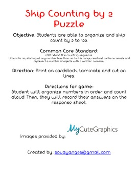 Skip Counting by 2 Puzzles