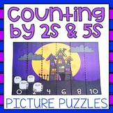 Skip Counting by 2s and 5s Puzzles Halloween Math Center 2