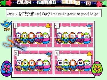 Skip Counting by 2's 5's and 10's-Easter Math Scoot Game with 32 Taskcards