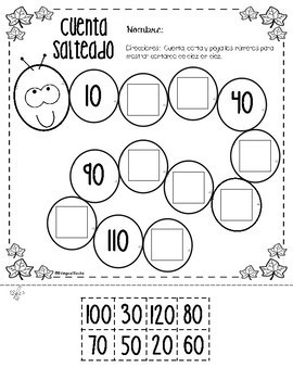 Skip Counting by 2's, 5's and 10's Worksheets in Spanish