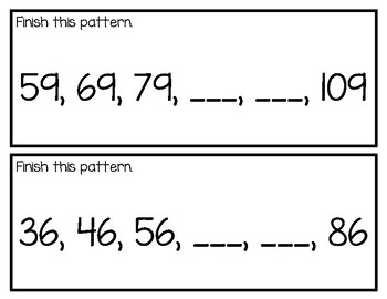 Skip Counting by 2's, 5's and 10's cards