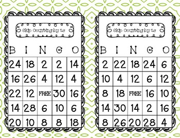 Skip Counting by 2's Bingo