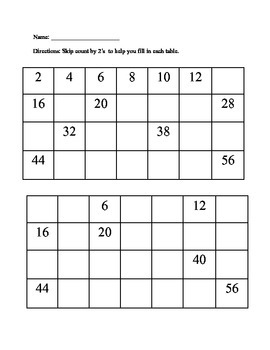 Skip Counting by 2's, 5's, and 10's