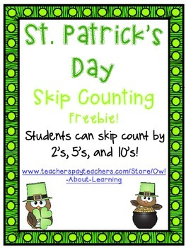 Skip Counting by 2's, 5's, and 10's (St. Patrick's Day Owl
