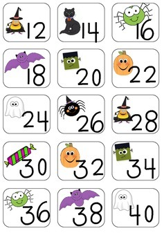 Skip Counting by 2's with Matching Standard and Word Form Cards