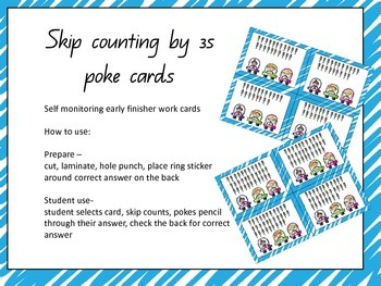 Skip Counting by 3s Poke cards