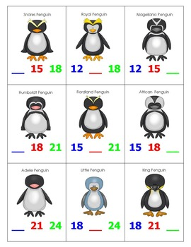 Skip Counting by 3's Top-It with Penguins