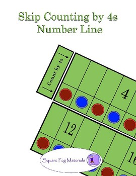 Skip Counting by 4s - Number Line for Visual and Kinesthetic Learners
