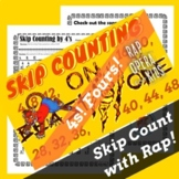 Skip Counting by 4s Rap Song with Skip Counting Worksheet for Multiplication