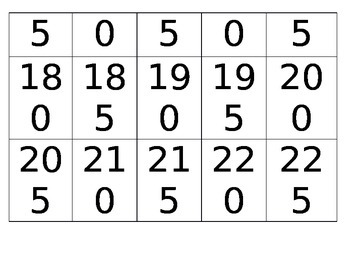 Skip Counting by 5 Cards