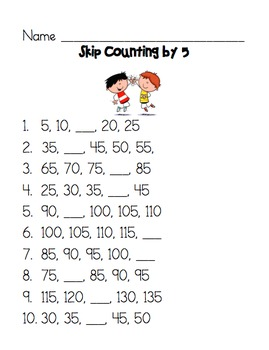 skip counting by 5 worksheet by wysiwyg teachers pay teachers. Black Bedroom Furniture Sets. Home Design Ideas